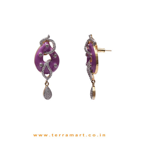 Open Drop Designed White Zircon Pendent Jewellery With Purple Enamel Work