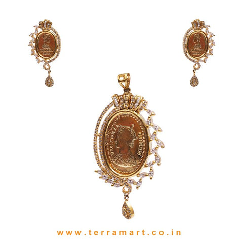 Queen Victoria Face Design White Stone Pendent Set - Terramart Jewellery