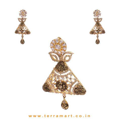 White Zircon Stoned Alloy Dressy Pendent Jewellery With Antique Look - Terramart Jewellery