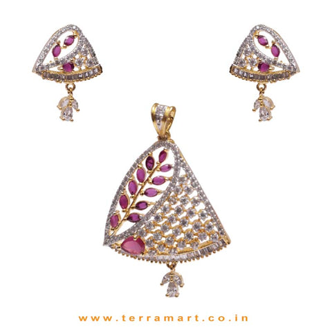 White & Pink Stoned Dashing Pendent With Earrings - Terramart Jewellery