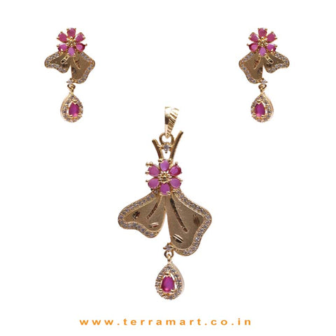 Pink Flower With 2 Petals Zircon Drop Pendent Set - Terramart Jewellery
