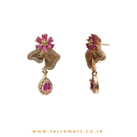 Pink Flower With 2 Petals Zircon Drop Pendent Set