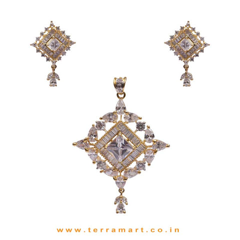 Creative White Zircon Stone Pendent With Earrings