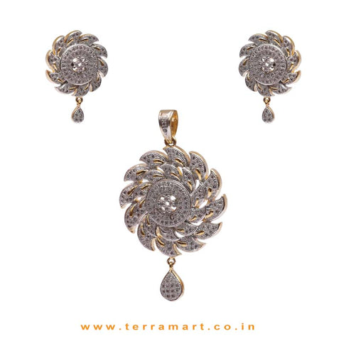 Chakra Shaped White Zircon Stone Pendent With Earrings - Terramart Jewellery