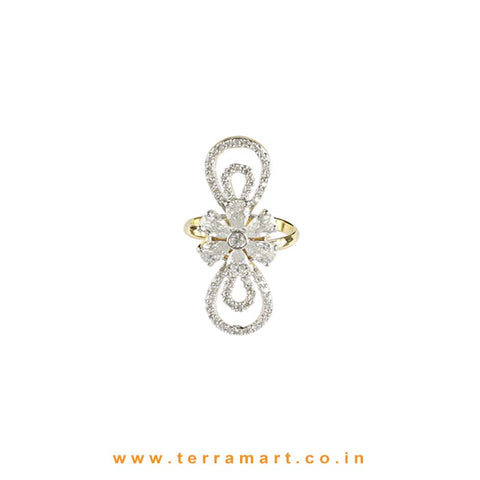 Floral designed White & Gold Zircon Stone Ring - Terramart Jewellery