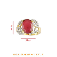 Simple & Eligant Zircon Stone Ring for Women / Girls (White, Pink & Gold)