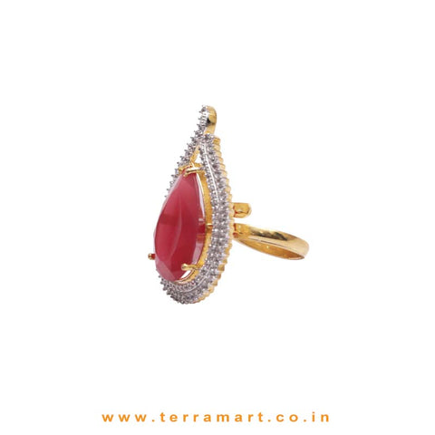 Terramart - Grand Zircon Stone Ring for Women / Girls (Pink, White, Gold)