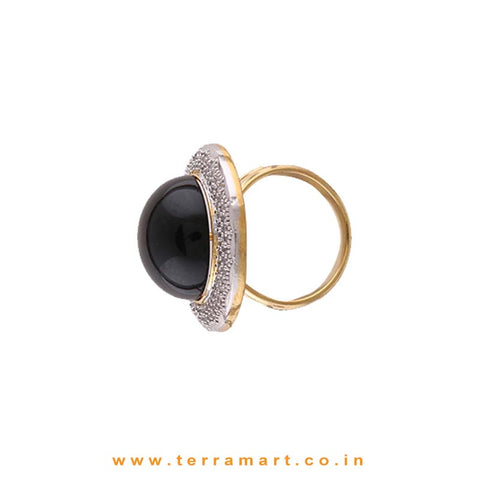 Dazzling White & Gold Zircon Stone Ring Jewellery With Single Black Stone - Terramart Jewellery