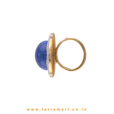 Titanic Blue & Gold Stoned Alloy Ring Jewellery - Terramart Jewellery