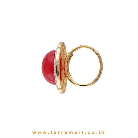 Terramart Jewellery - Dazzling White & Gold Zircon Stone Ring Jewellery With Single Pink Stone