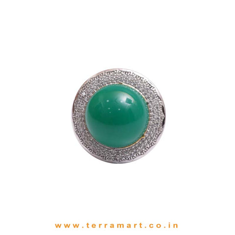 Dazzling White& Green Zircon Stone Ring Jewellery With Green Stone - Terramart Jewelery