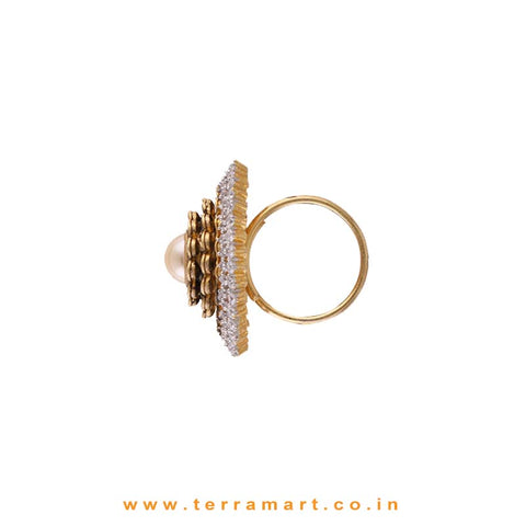 White & Gold  Zircon Stoned Ravishing Alloy Ring - Terramart Jewellery