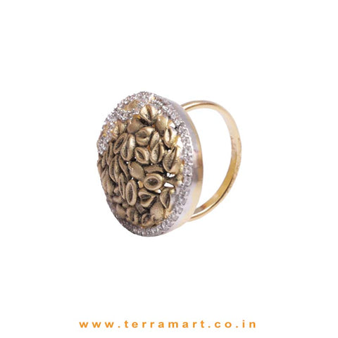 Antique Look White & Gold Zircon Stone Ring For Girls - Terramart Jewellery