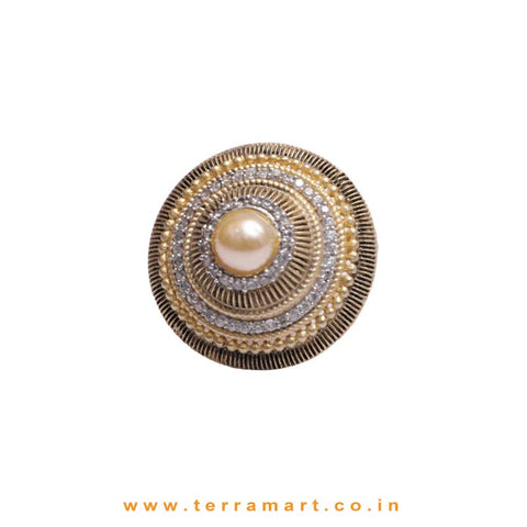 Antique Styled White & Gold Zircon Stone Ring With Pearl - Terramart Jewellery