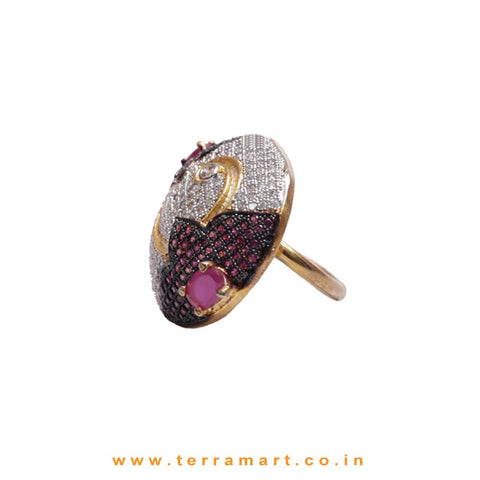 White & Pink Zircon Stoned Charismatic Ring Gold - Terramart Jewellery