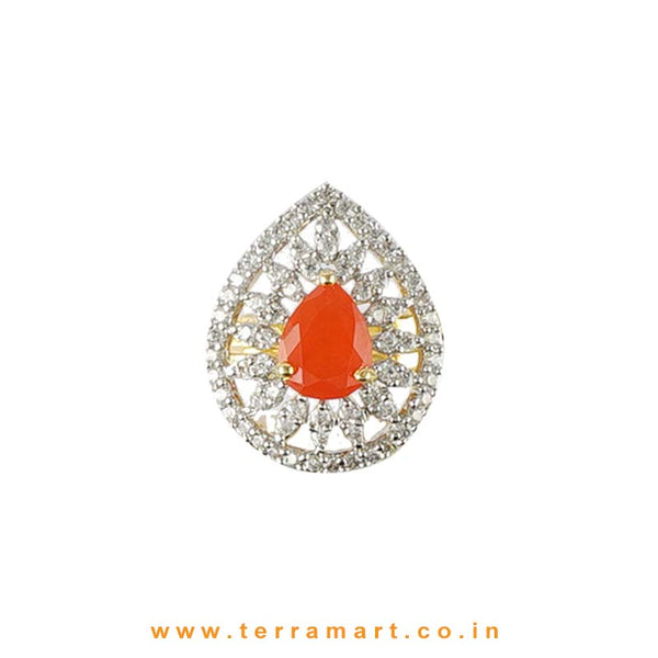 Terramart -  Zircon Stone Ring for Women / Girls (White, Orange & Gold)