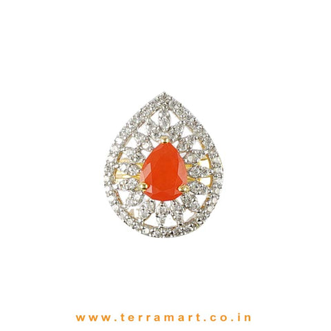 Nice Orange & White Zircon Stone Ring