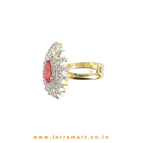 Terramart - Traditional Zircon Stone Ring for Women / Girls (White, Pink & Gold)