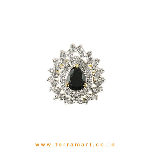 Fabulous Black & White Zircon Stone Ring