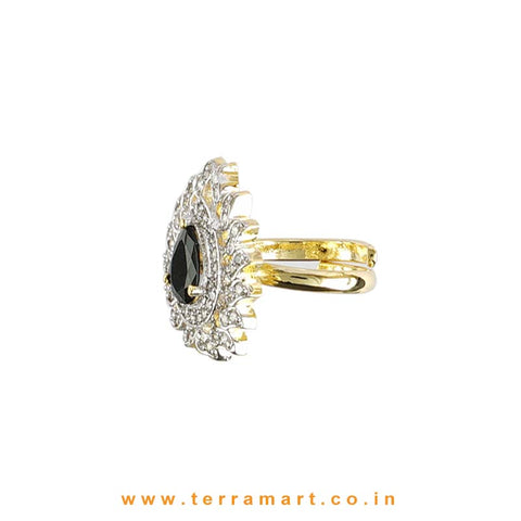 Terramart - Traditional Zircon Stone Ring for Women / Girls (White, Black & Gold)