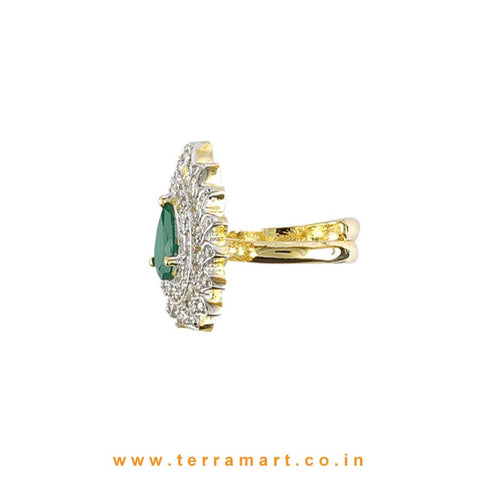 Terramart - Traditional Zircon Stone Ring for Women / Girls (White, Green & Gold)