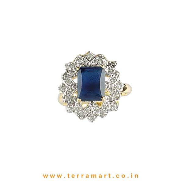 Terramart - Eligant & Simple Zircon Stone Ring for Women / Girls (White, Blue & Gold)