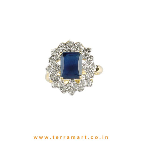 Beautiful Blue & White Zircon Stone Ring