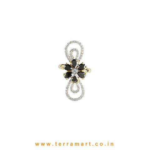 Black Floral designed White Zircon Stone Ring