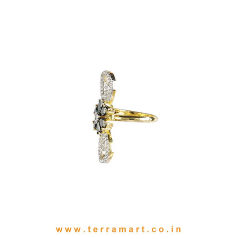 Terramart - Grand Zircon Stone Ring for  Girls / Women (White, Black & Gold)