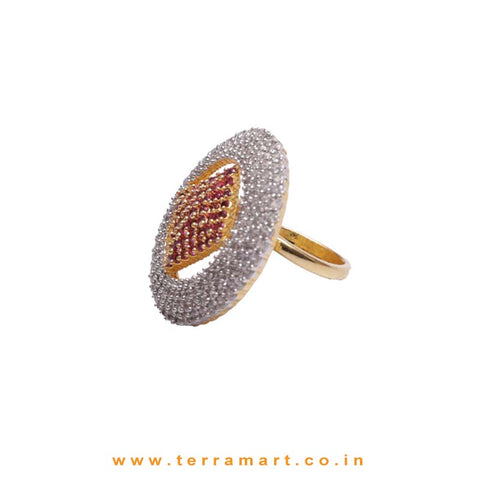 Dapper White, Pink & Gold Zircon Stoned Ring Jwellery - Terramart Jewellery