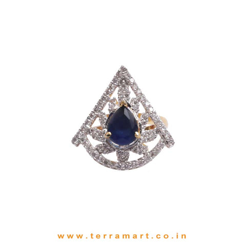 Charismatic White, Blue, Gold Zircon Stoned Ring Jwellery - Terramart Jewellery