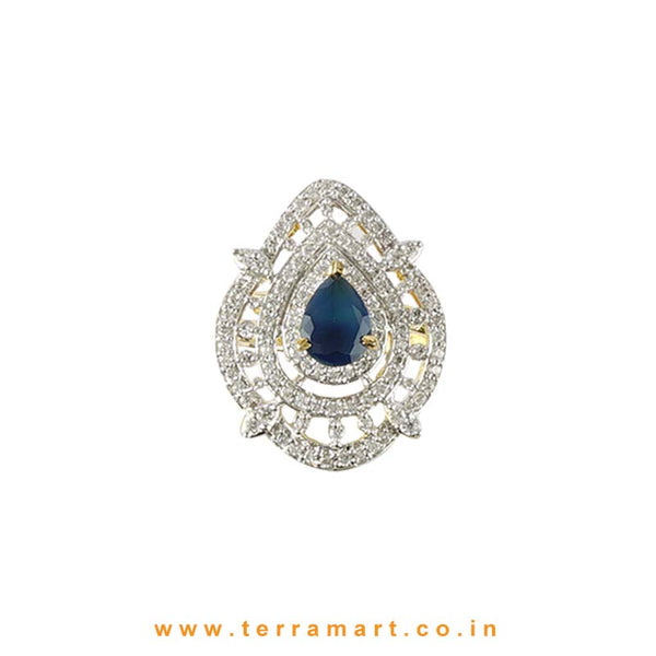 Terramart - Traditional Zircon Stone Ring for Girls / Women  (White, Blue & Gold)