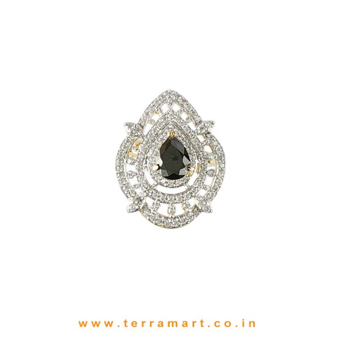 Black & White Artistic Zircon Stone Ring