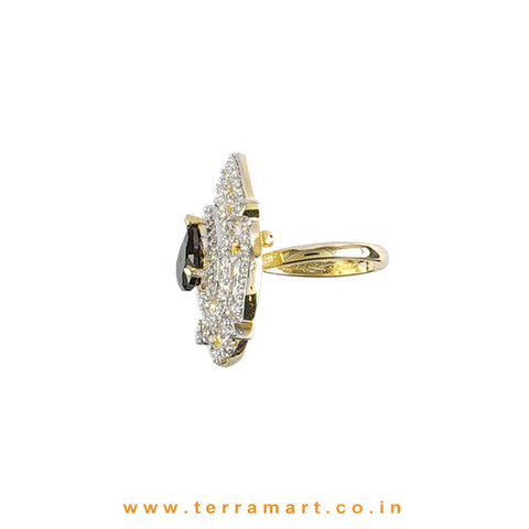 Terramart - Traditional Zircon Stone Ring for Girls / Women  (White, Black & Gold)