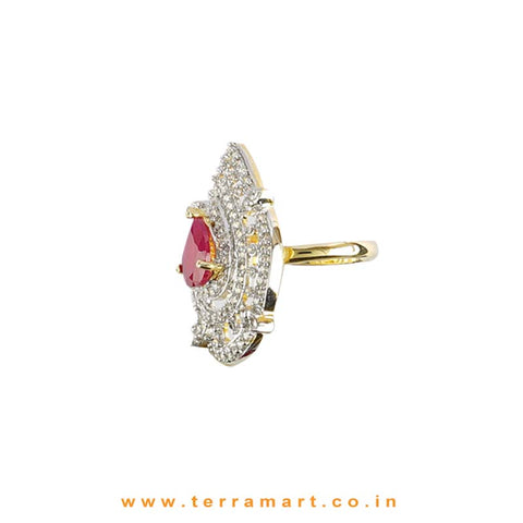 Terramart - Traditional Zircon Stone Ring for Girls / Women  (White, Pink & Gold)