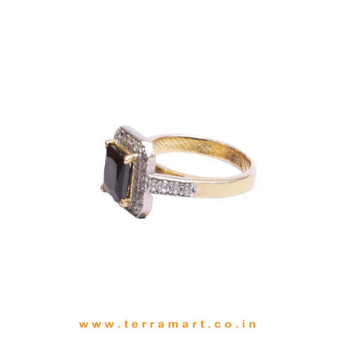 Fashion Square Gold, Black Zircon Stone Ring - Terramart Jewelery