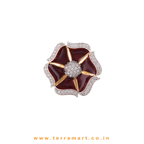 Floral Statement Ring inlaid Gold, White Stone With Maroon Enamel - Terramart Jewellery