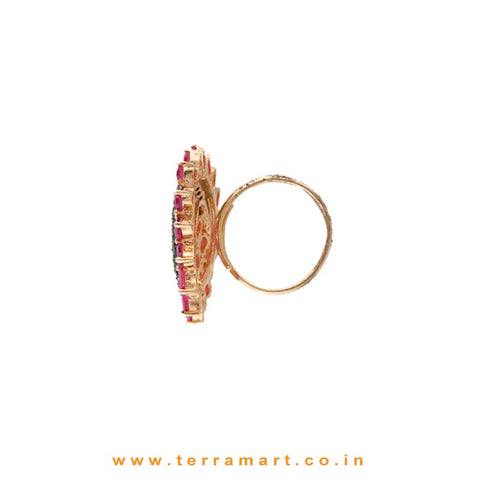 Half Mood Shaped Green Zircon Stone Ring With Pink Flowers - Terramart Jewellery