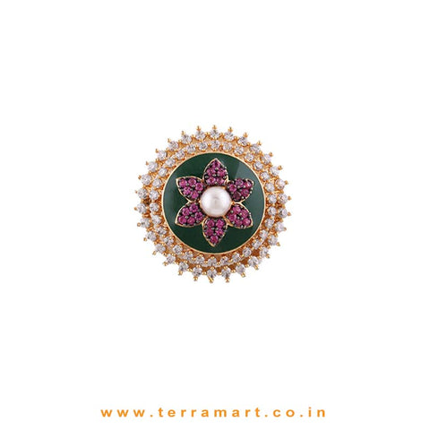 Colourful Rangoli Designed White, Pink, Green & Gold Ring Jewellery  - Terramart Jewellery