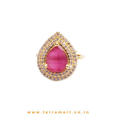 White, Pink, Gold Zircon Stoned Cultured Ring Jwellery - Terramart Jewellery