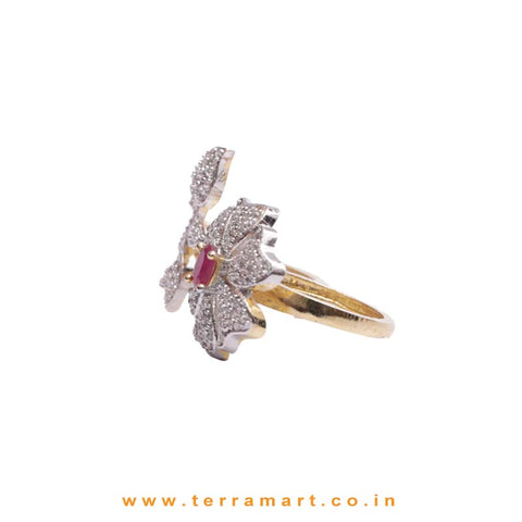 6 Petals Gold, White & Pink Colour Floral Zircon Double-Finger Ring  - Terramart Jewellery