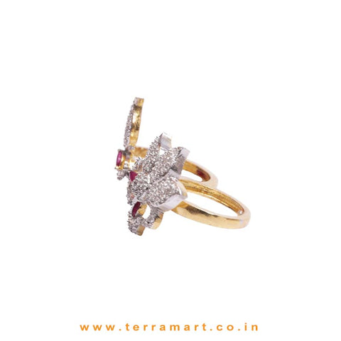 Floral Gold, White & Pink Zircon Stoned Double-Finger Ring  - Terramart Jewellery