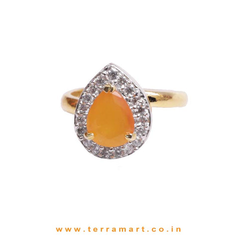White, Yellow & Gold Zircon Stoned Cultured Ring Jwellery - Terramart Jewellery