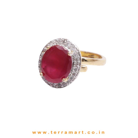 White, Pink & Gold Zircon Stoned Circle Cultured Ring Jwellery - Terramart Jewellery