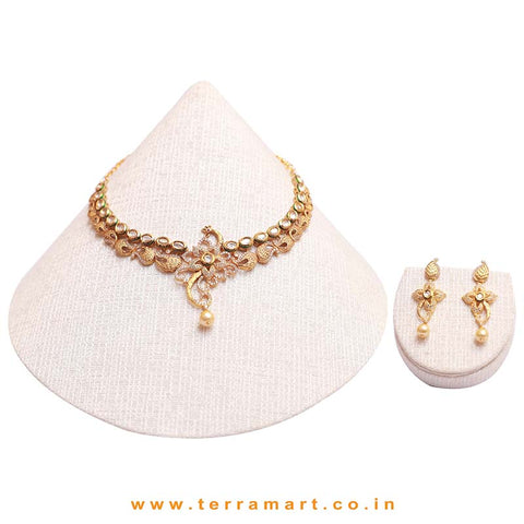 Floral & Peacock designed White Kundan necklace set with pearl - Terramart Jewellery
