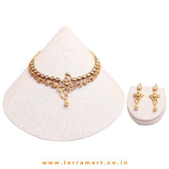 Floral designed Kundan nekwear set with pearl