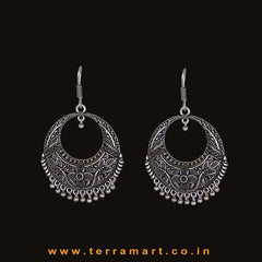Chandbali Metal Hook Earrings In Floral Design