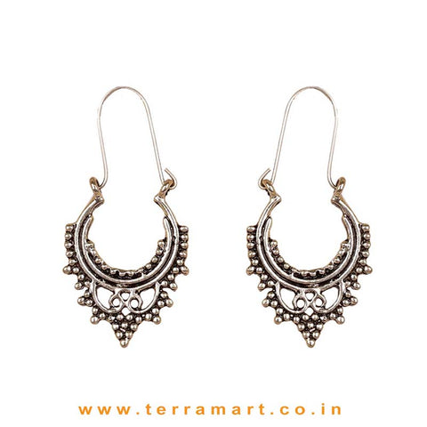 Stylish Oxidized Metal Hoop Earrings - Terramart Jewellery