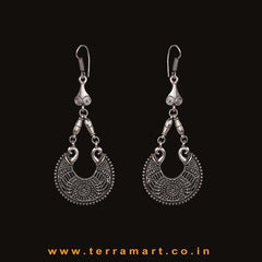 Fancy Oxidized Metal Long Hook Earrings - Terramart Jewellery