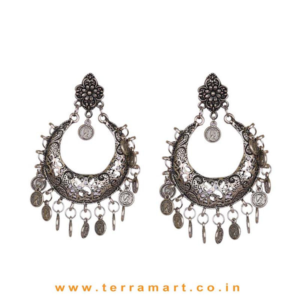 Traditional Oxidized Floral Design Studded Metal Earrings - Terramart Jewellery
